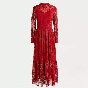 J crew ruby red embroidered long sleeve midi dress